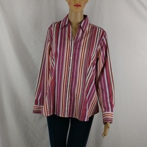Chico's size 1 button down top. Career wear stripe